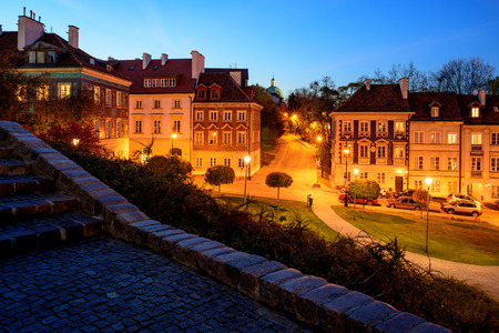Warsaw, Poland - October 31, 2018: Night View of the Old Town of Warsaw,
