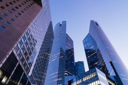 Business Towers at Dusk, View of Skyscrapers, La Defense, Paris. 스톡 콘텐츠