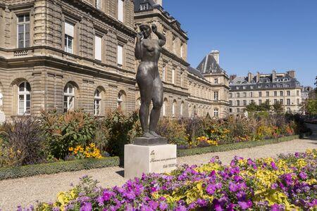 Paris, France - Sept 04, 2019: Luxembourg Palace with flowers. Paris, France.