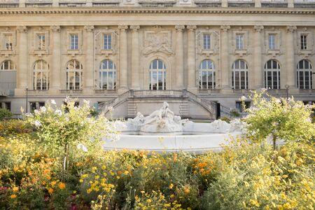 Paris, France - Sept 04, 2019: Fountain at the Grand Palais, Paris, France.