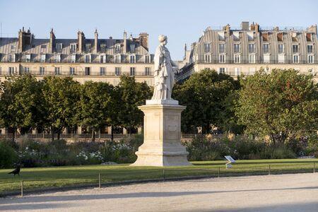 Paris, France - Sept 04, 2019: View to the Jardin des Tuileries in Paris, France Redakční