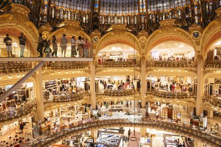 Paris, France - Sept 05, 2019: Galeries Lafayette interior in Paris.