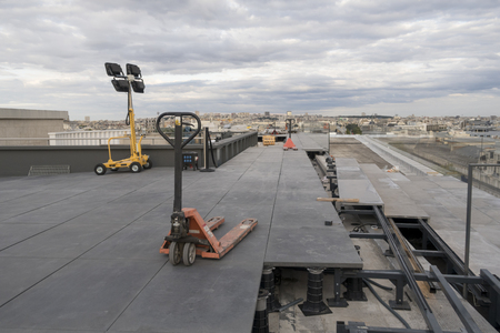 Paris, France - Sept 05, 2019: Renovation work of the rooftop of  the Galeries Lafayette i Paris.