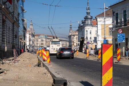 Cluj Napoca, Romania - 23 Oct, 2019: Road work and renovation in the Downtown of Cluj Napoca, Romania. Editorial