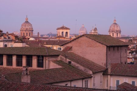 Historic Rome city skyline with domes and spires seen from Terrazza Caffarelli. Rome, Lazio, Italy