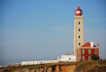 Lighthouse Sao Pedro de Moel on Silver Coast in Portugal Stock Photo