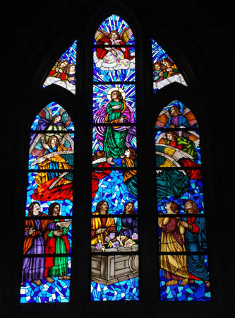 Stained glass window in Catedral de la Almudena, Madrid