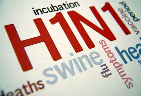h1n1 vaccine: Swine flu H1N1 disease with virus vaccine  Stock Photo