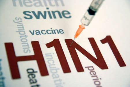 豚インフルエンザ H1N1 ワクチン注射器、ウイルス病 写真素材
