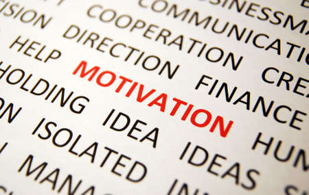 Background with words motivation, idea, direction, finance, ideas, cooperation, view right