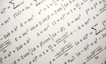 Math background with formulas, Einstein formula of relativity photo