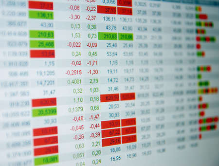 Stock quotes, real time quotes at the stock exchange, market Stock Photo