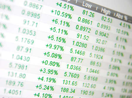 株価、株式市場でのリアルタイム引用符なし 写真素材