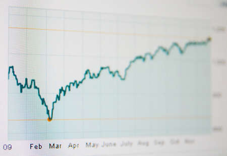 One stock market quote graph bull with chart type line Stock Photo