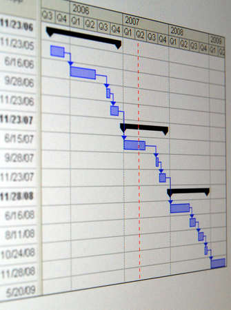 A Gantt chart is a type of bar chart that illustrates a project schedule. Stock Photo - 6462579