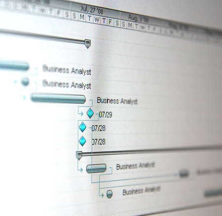 A Gantt chart is a type of bar chart that illustrates a project schedule. Stock Photo - 6462573