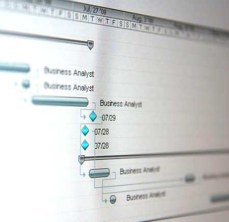 Ein Gantt-Diagramm ist ein Balkendiagramm, das illustriert, einen Projektzeitplan. Standard-Bild