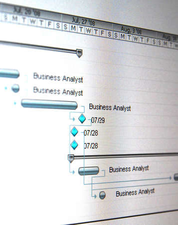 A Gantt chart is a type of bar chart that illustrates a project schedule. photo