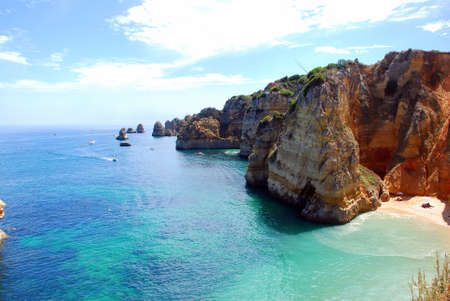 Cliffs at the Dona Ana beach, Algarve coast in Portugal  Stok Fotoğraf