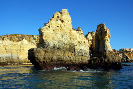 Yellow cliffs in Lagos in the Algarve Portugal photo