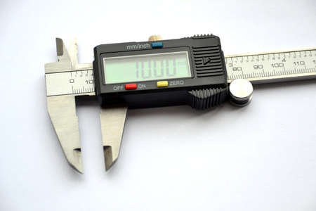 Close up of digital vernier calipers photo