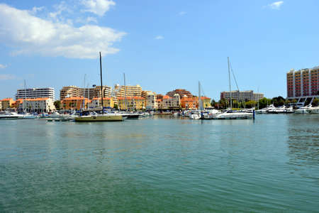 Motor boats in Vilamoura resort, Portugal, summer