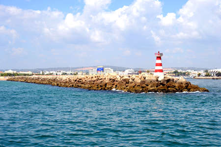 vilamoura: Red Lighthouse in summer, Vilamoura, Portugal, Europe