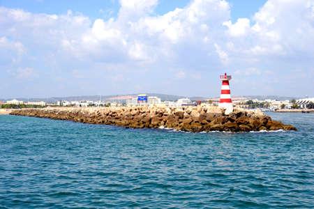 vilamoura: Red Lighthouse in summer, Vilamoura, Portugal, Europe