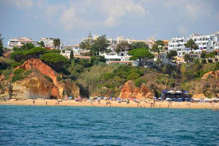gua: Beach Olhos de gua, Albufeira, Algarve, Portugal summer Stock Photo