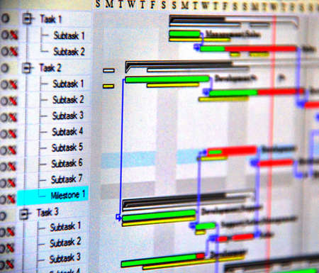 project deadline: Close up shot of a detailed Gantt Chart that illustrates a project  showing Tasks