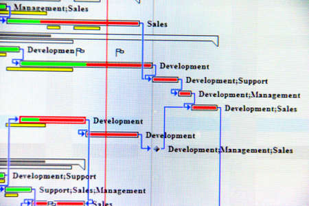 Close up shot of a detailed Gantt Chart that illustrates a project  showing Tasks