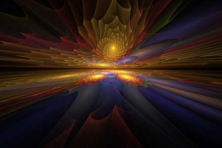 Horizontal abstract fractal on the black background