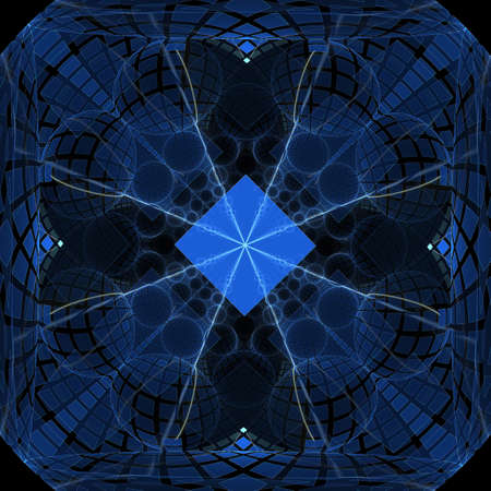 Square abstract fractal on the black background Stock Photo