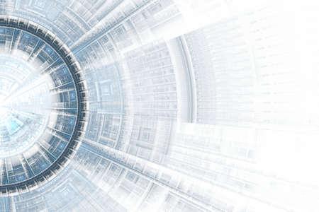 Computer generated illustration rendered fractal showing solar blue