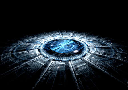 Computer generated illustration rendered fractal solar blue Stock Photo