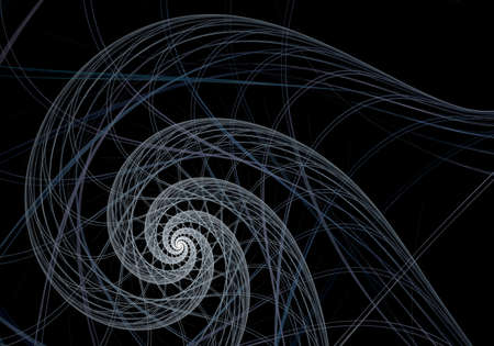 Abstract digital fractal spiral art on the black background