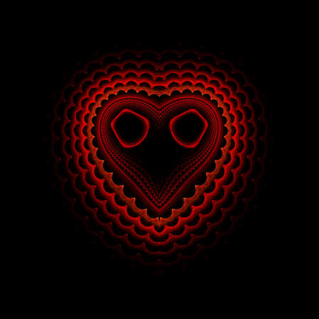 Fractal abstract computer generated heart background black photo