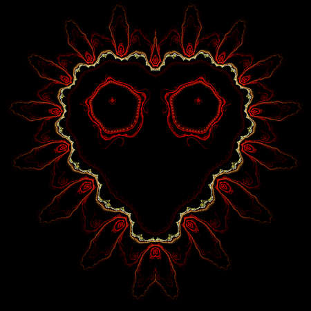 Fractal abstract computer generated heart background black