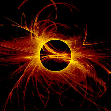 The eye of God  Solar Eclipse on black background