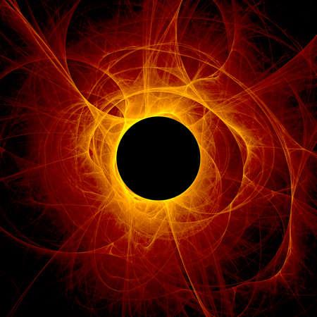 黒の背景に日食の太陽神の目