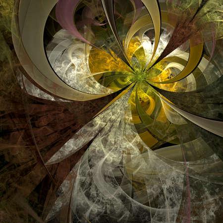 対称的なフラクタル花、創造的なグラフィックのデジタル アート