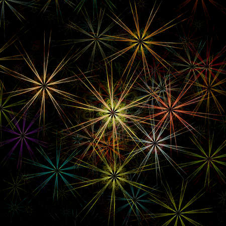 Beautiful colorful fractal fireworks on the black background photo