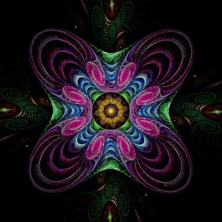 puffed: Abstract fractal image resembling a puffed colorful star flower  Stock Photo