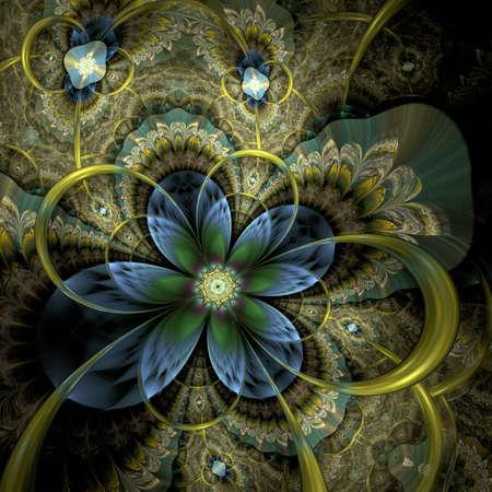 カラフルな光のフラクタル花や蝶、デジタル アート