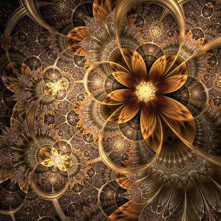 Colorful fractal flower pattern, digital artwork for creative graphic