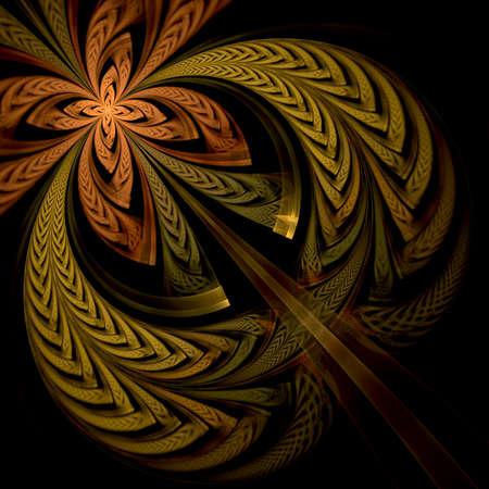 カラフルなフラクタル花パターン、デジタル芸術家の創造的なグラフィック 写真素材