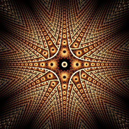 puffed: Abstract fractal image resembling a puffy colorful star flower symmetric Stock Photo