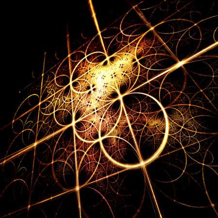 Abstracte fractal gele achtergrond met pilaren en cirkels Stockfoto
