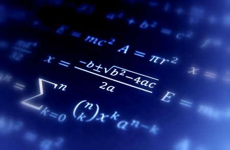 Wiskundige geometrie achtergrond met formules Stockfoto
