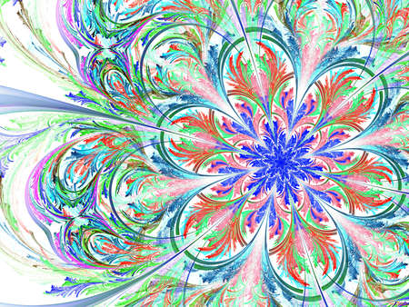 Colorful and blue fractal flower white background Stock Photo